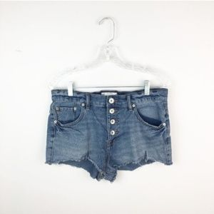 Free People hi waisted denim shorts button up 28